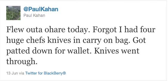 Chef Paul Kahn Knife Tweet
