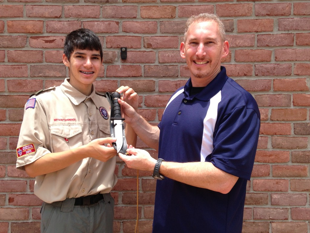 Knife Depot COO Waren Sager and his son, Ian.