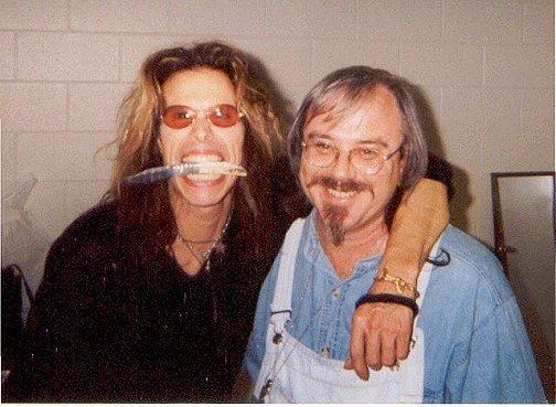 Steven Tyler with knifemaker Steve Hill